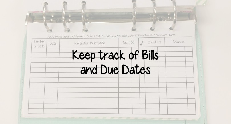 Keep Track of Bills and Due Dates